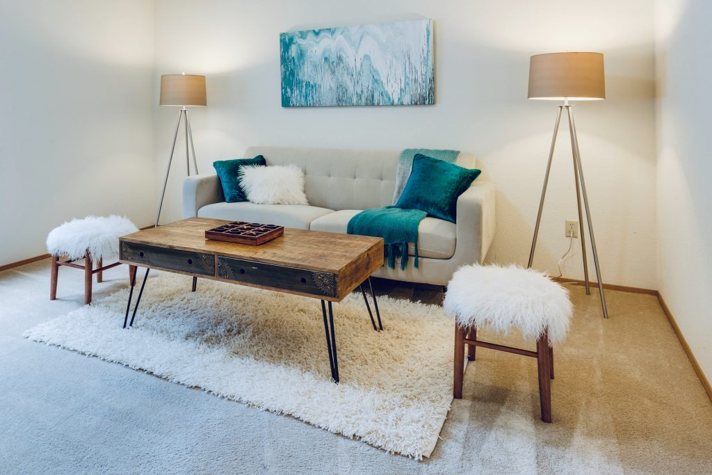 cosy home living room with fluffy rug and cushions